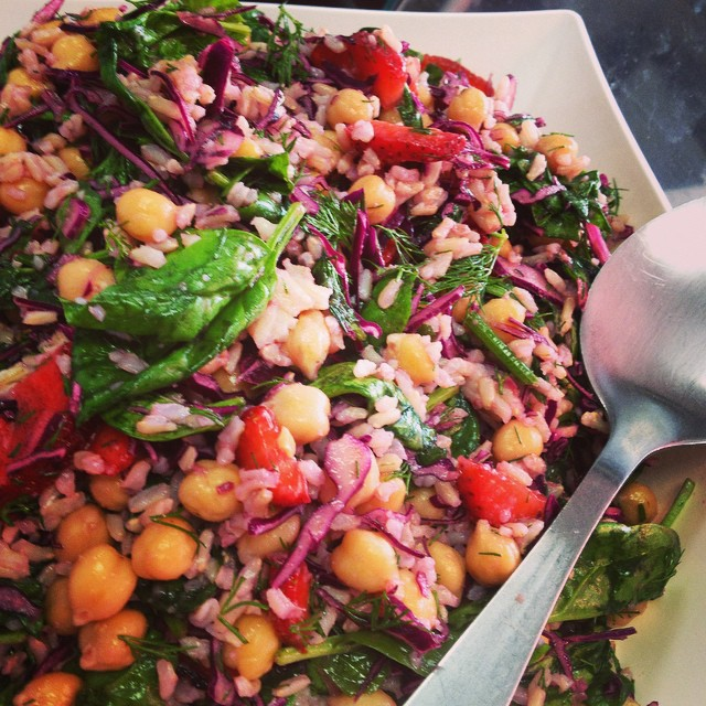 So much awesomeness to choose from today. This is a strawberry, wilted spinach brown rice and chickpea salad with dill vinaigrette #glutenfree #vegan #soyfree #plantbased #plantprotein #healthy #fresh #salads