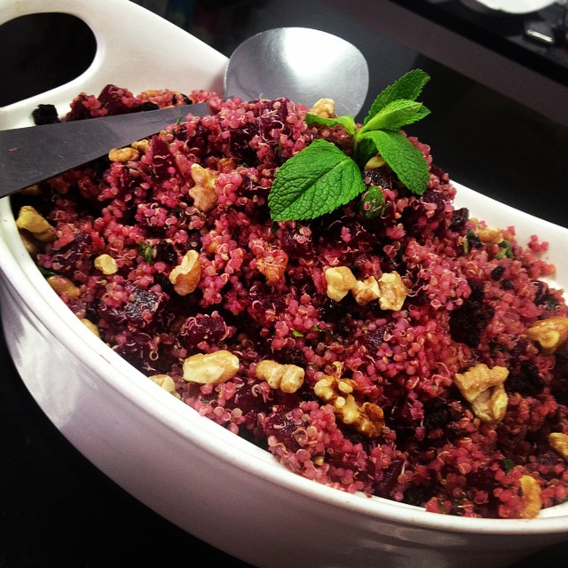 Moroccan beet and quinoa salad with roasted walnuts and currant raisins with fresh mint and cilantro dressing #gogoquinoa #salad #vegan #soyfree #glutenfree #dairyfree #freshness #Morrocan #healthy
