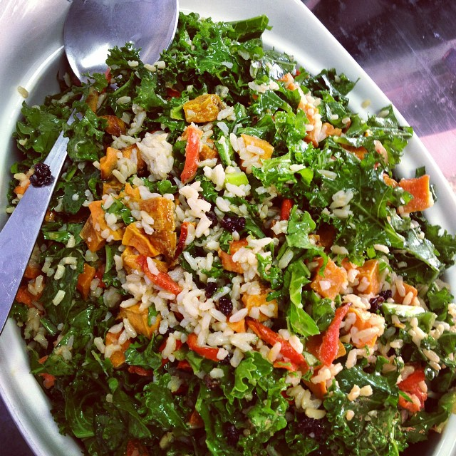 Kale with brown rice, roasted carrots, sweet potatoes and currants with lemon maple syrup dressing #glutenfree #vegan #soyfree #plantbased #wheatfree #wheatfree #kale #salads #fresh