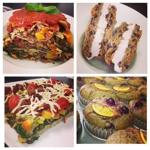 All kinds of yuminess today! Pizza, lasagna, salads, muffins, cookies and ice cream sandwiches #glutenfree #vegan #plantbased #plantprotein #mtl #514