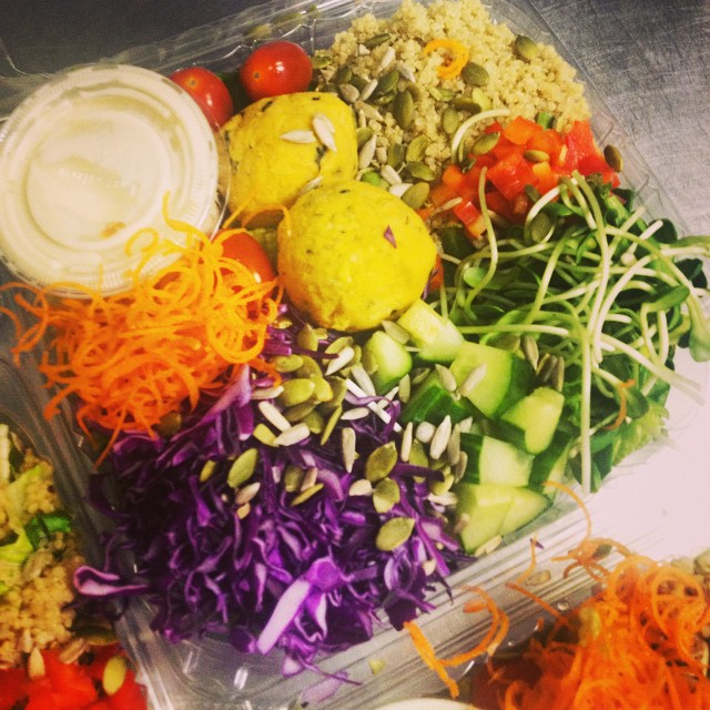 Middle eastern salad bowl available at biotope, rejuice and our store today #glutenfree #vegan #fresh #salads #falafel #wheatfree #wholegrain #quinoa