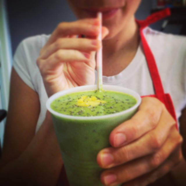 Serving up smoothies today! Pineapple, spinach, chia and vanilla plant based protein. Each smoothie has 10g of protein and no added sugar, only deliciousness! #glutenfree #vegan #plantbased #plantprotein #vegansmoothies