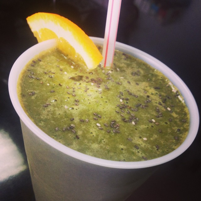 Smoothie of the day: orange chocolate shake with spinach and chia with a total of 15g of protein per serving #glutenfree #vegan #shake #highprotein #healthy