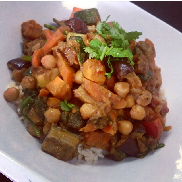Moroccan stew today with roasted eggplant, cauliflower, squash, spinach and chickpeas served over brown rice or quinoa #glutenfree #vegan #soyfree #plantbased #wheatfree #moroccanstew