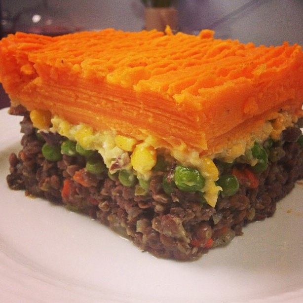 We are serving up s favourite today: Sweet potato shepherds pie with creamed corn, sweet peas and meaty lentil mix #glutenfree #vegan #soyfree #wheatfree