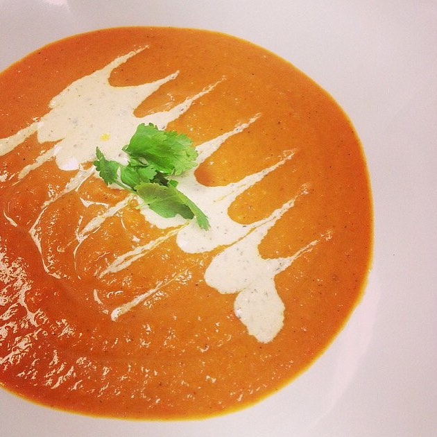 Spiced carrot coconut giver soup today, even though it's hot! #glutenfree #vegan #soyfree #wheatfree #soup