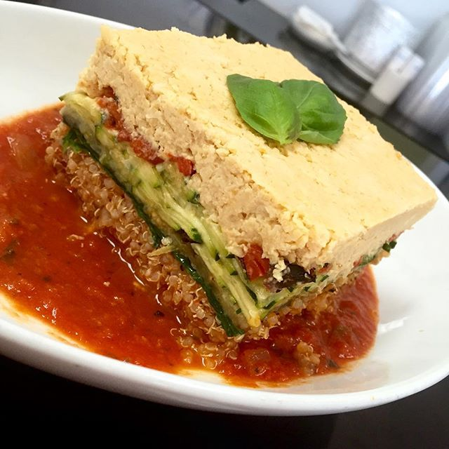 We are back and serving up a storm today. Mediterranean casserole with layered quinoa, eggplant, zucchini, roasted bell peppers, spinach and hummus #glutenfree #vegan #soyfree #plantpower #plantbased #quinoa @gogoquinoa
