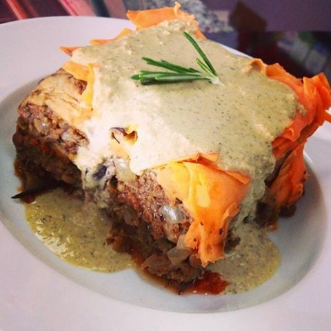 Meatless moussaka with scalloped sweet potatoes and cashew cream bechamel #glutenfree #vegan #soyfree #wheatfree #wholegrain #dairyfree #powerfood #plantbased #pulses #healthy #cleaneating