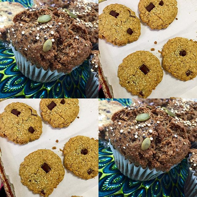 Chocolate quinoa cookies and apple spice muffins #guiltfree #glutenfree #vegan #dairyfree #wheatfree #wholegrain #plantbased