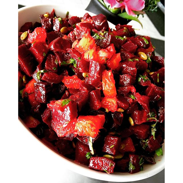 Roasted beet salad with orange cilantro dressing #glutenfree #vegan #soyfree #wheatfree #salad #cleaneating #antioxidant #bloodpurifier #hearthealthy #highfibre