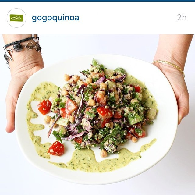 I'm sharing a recipe! Try this delicious quinoa chickpea salad tonight! Come by the GoGo quinoa stand at the Expo Manger Sante 2016 to sample it and other goodies #glutenfree #vegan #pulses #mangersante2016  @gogoquinoa @expomangersante Recipe: http://gogoquinoa.com/recipes/quinoa-chickpea-salad-tahini-cilantro-dressing/