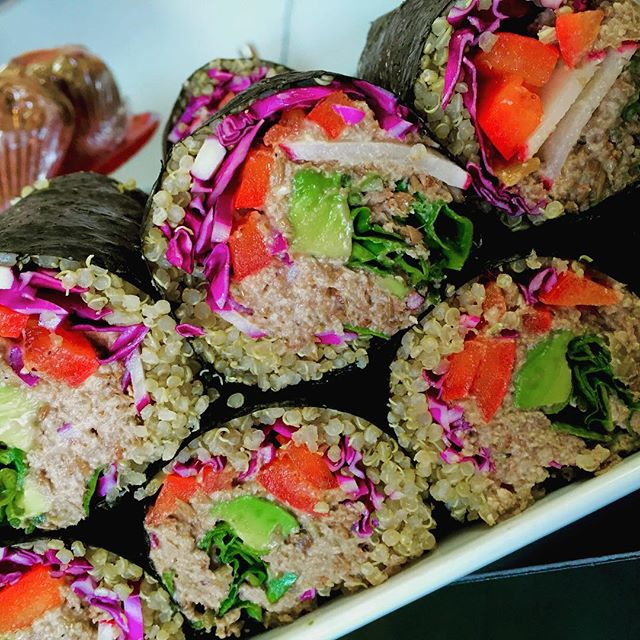 Nori rolls with lentil walnut pate #vegansushi #healthyfood #cleaneating #quinoa #getinmybelly