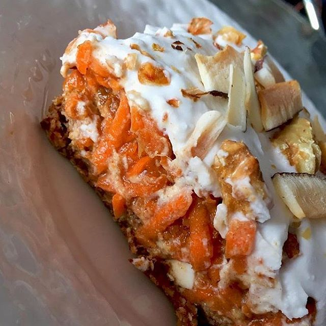 It's so healthy you can have it for breakfast. Have you tried our raw carrot cake with coconut almond crust and whipped coconut cream #glutenfree #vegan #soyfree #wheatfree #raw #cleaneating #vegancarrotcake