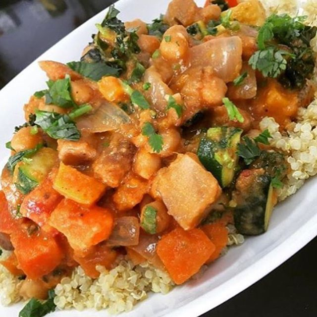 After all the treats, treat yo-self to a healthy clean meal. Serving up a chickpea ratatouille today with roasted zucchini, eggplant, bell peppers & sweet potatoes simmered in a herb tomato broth served over quinoa #glutenfree #vegan #soyfree #cleaneating #plantbased #mtlvegan