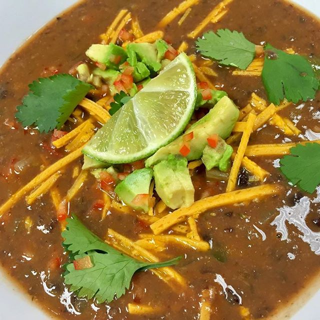 Our soup of the day is a Cuban black bean bisque , so yummy! I topped this one off with daiya cheddar and avocado  #glutenfree #vegan #soup #hotsoup #dairyfree #meatfree