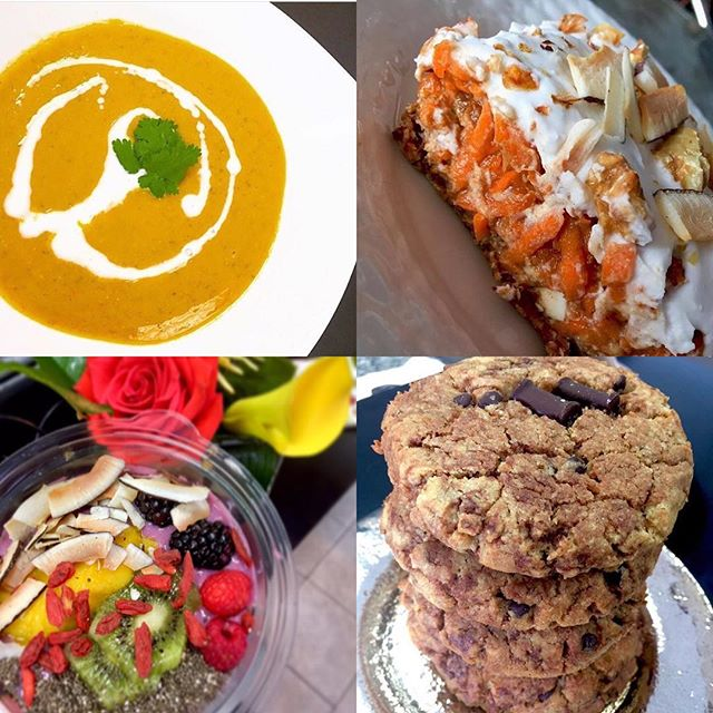 Last week to stock up on your favourites! We have a red lentil dhal today to warm you up, raw carrot cake (perfect guilt free sweet before the holidays), chocolate chip tahini cookies, quinoa chocolate chips muffins, smoothies bowls, fresh salads and more! #glutenfree #vegan #dairyfree #plantbased #plantbaseddiet #chefveganessa