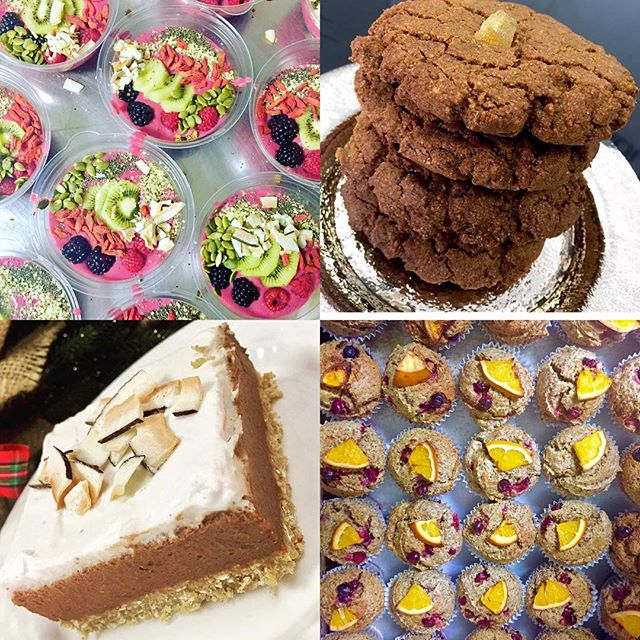Cranberry orange muffins, ginger molasses cookies, chocolate chai cream pie and smoothie bowls are part of today's menu #glutenfree #vegan #dairyfree #soyfreeoptions #cleaneating #wheatfree #whatveganseat #wholefood #wholegrain #antioxidants