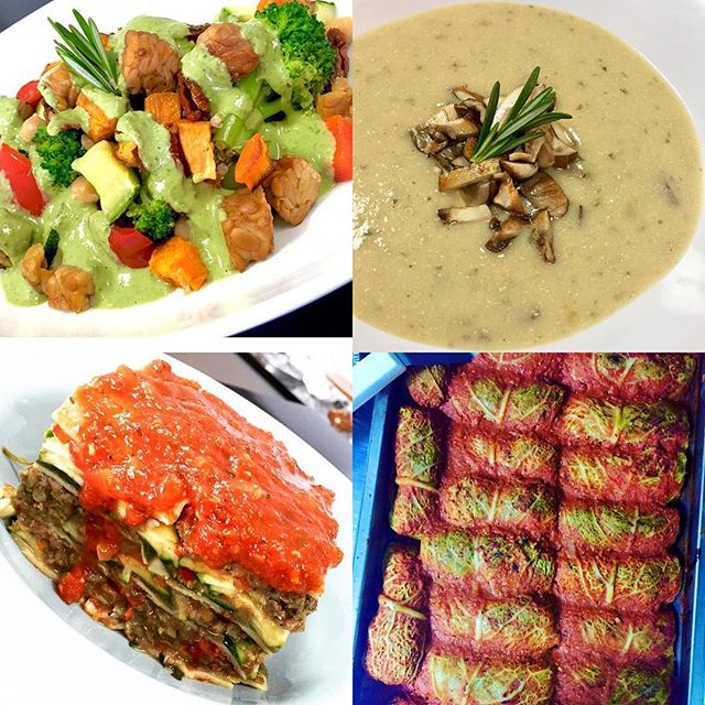 Grab your healthy meals to go today, we have cabbage rolls, meaty lentil lasagna, Italian tempeh saute and celery root mushroom quinoa chowder #glutenfree #cleaneating #vegan #dairyfree #soyfreeoptions #plantprotein #vegansofig #veganfoodlovers #veganfoodshare