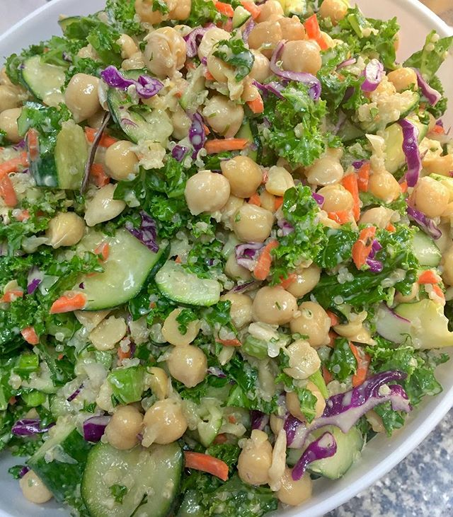 Fresh kale zucchini and chickpea salad with tahini herb dressing #glutenfree #vegan #dairyfree #soyfree #cleaneating #plantbased #kale #quinoa @gogoquinoa