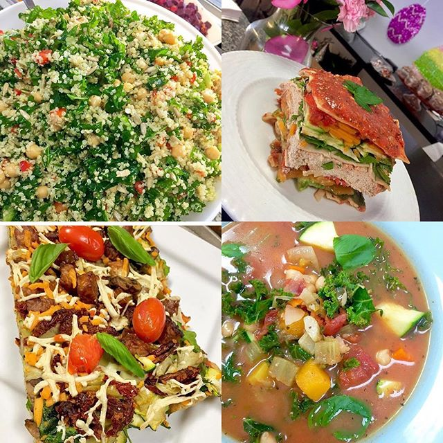 SATURDAY ️️️ pizza  tofu feta lasagna  minestrone and salads  #glutenfree #vegan #dairyfree #mealstogo #mtlvegan