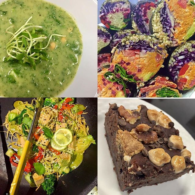 Detox super green soup with kale, chickpeas and wild rice. Indonesian tofu sauté. Rocky road bread pudding with chocolate caramel sauce and so much more