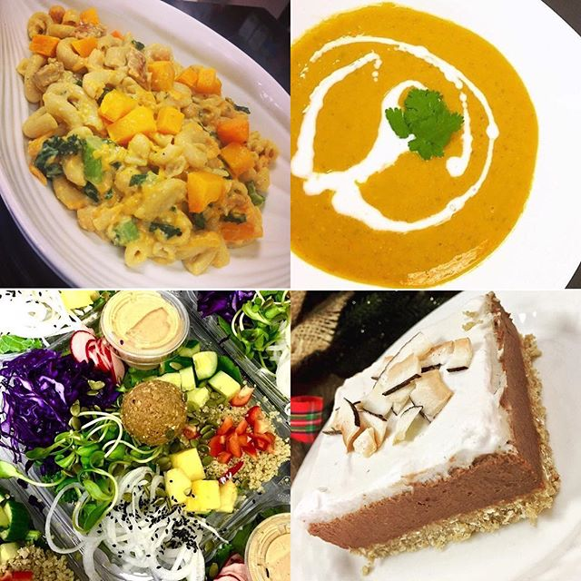 Butternut squash penne Alfredo, soup, banana cream pie and salad bowls