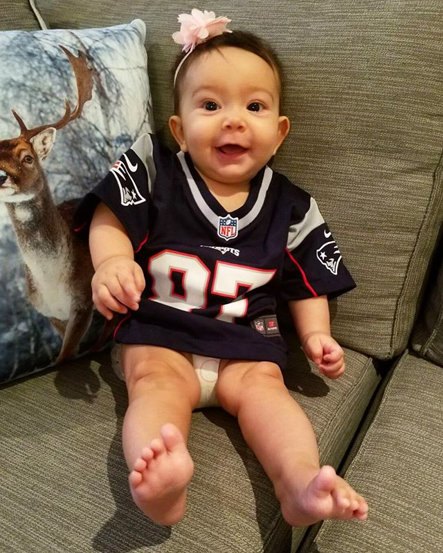 Daddy loves football and so will I  thank you nonno for my first official jersey #daddysgirl #patriots #nflsunday #nflgear #cutebaby #nflbaby #nfl #footballbaby #futuresportanalyst