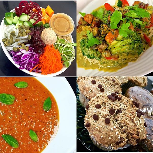 Thai coconut curry tofu sauté, roasted red pepper bisque, salads bowls and more  hello Tuesday! #glutenfree #vegan #dairyfree #soyfree #mealstogo #cleanliving #mtlvegan