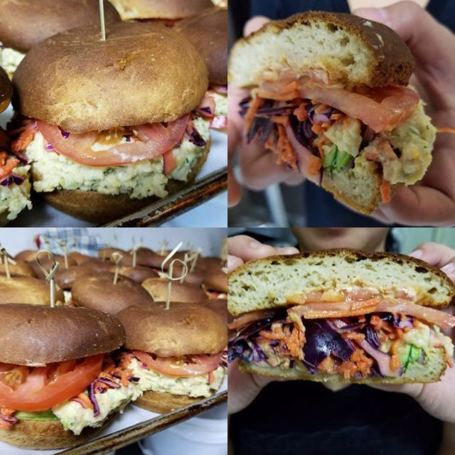 Serving up our chickpea tuna sandwiches we also sell the chickpea pate in take out containers so you can make your favourite melts at home #glutenfree #vegan #vegantunamelt #whatveganseat #mtlvegan