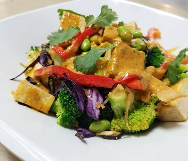 Indonesian tofu stir fry today  plant based deliciousness happening at 275 Elm #glutenfree #vegan #dairyfree #plantbased #plantbaseddiet #cleaneating