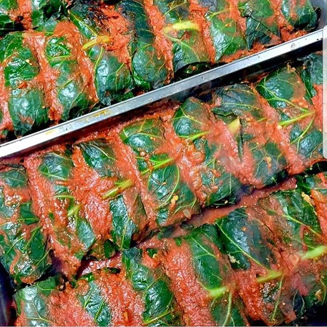 Cabbage rolls today!! (Ok these are collard rolls but you get the picture )