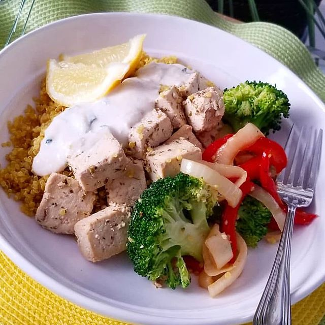 Tofu Greek plate in store today!!