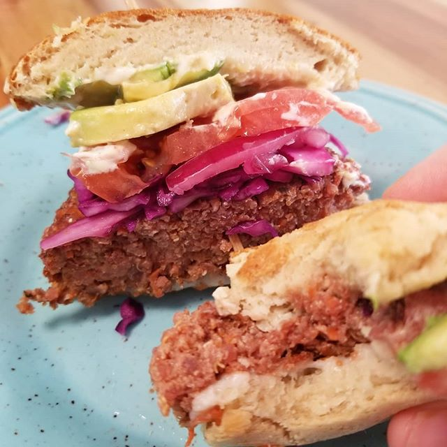Our beet burger all dressed up is available today!